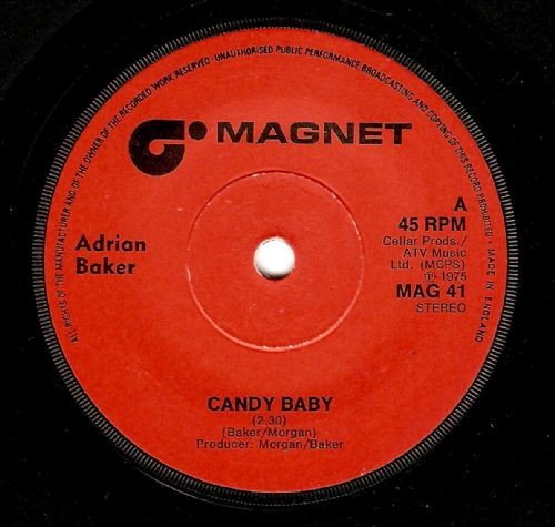 ADRIAN BAKER Candy Baby Vinyl Record 7 Inch Magnet 1975